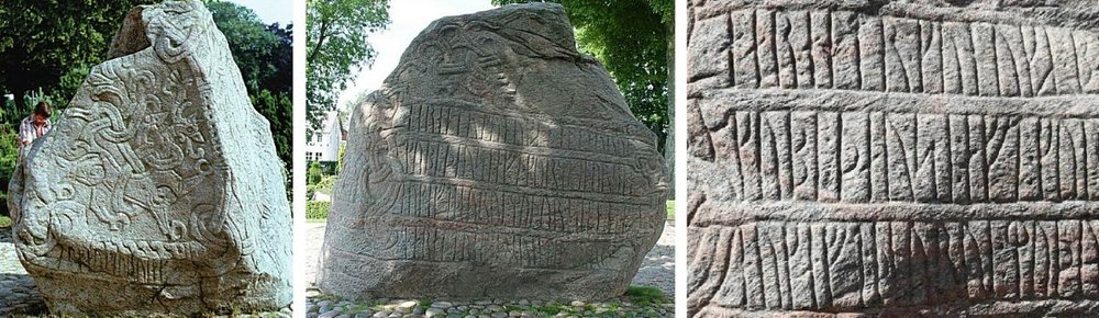 Left: The runestone of King Harald Bluetooth, carved around A.D. 965 in Jelling, Denmark. Middle: The larger Jelling stone. Right: Deatail showing rune inscription concerning Harald