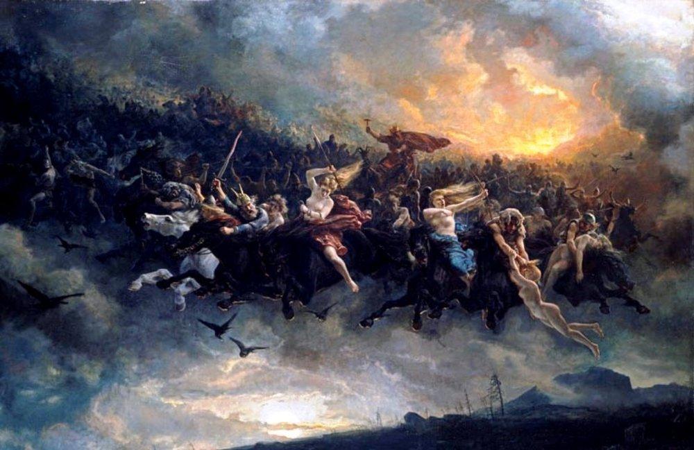 """Åsgårdsreien""by Peter Nicolai Arbo (1872)"