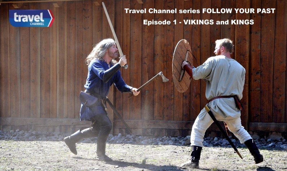 Tyr Neilsen and Andreas Sørensen - viking fighting on travel channel series follow your past episode vikings and kings     Photo: T. Neilsen - B. Wemundstad