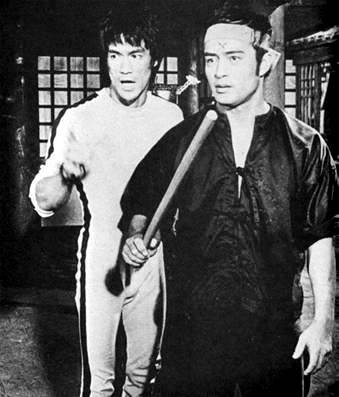 BRUCE AND DAN ON THE FILM SET OF GAME OF DEATH