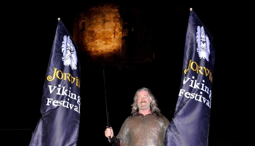 Tyr Neilsen - the first Norwegian to demonstrate the Viking martial art of Glima at jorvik Viking Festival