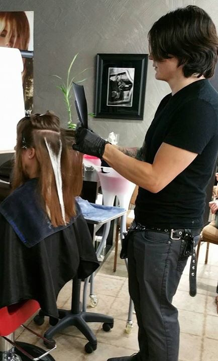 Nathan Andrews doing balayage on our lovely model