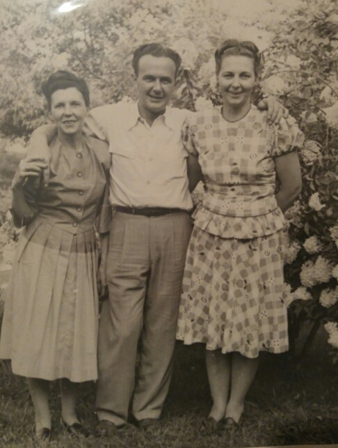 Two of my mom's sisters (Aunt Louise and Aunt Marie), and thinking these are the ones who brought me home from the hospital, and my Uncle Harvey (whose wife Beth, made the connection to bring me into the family!).