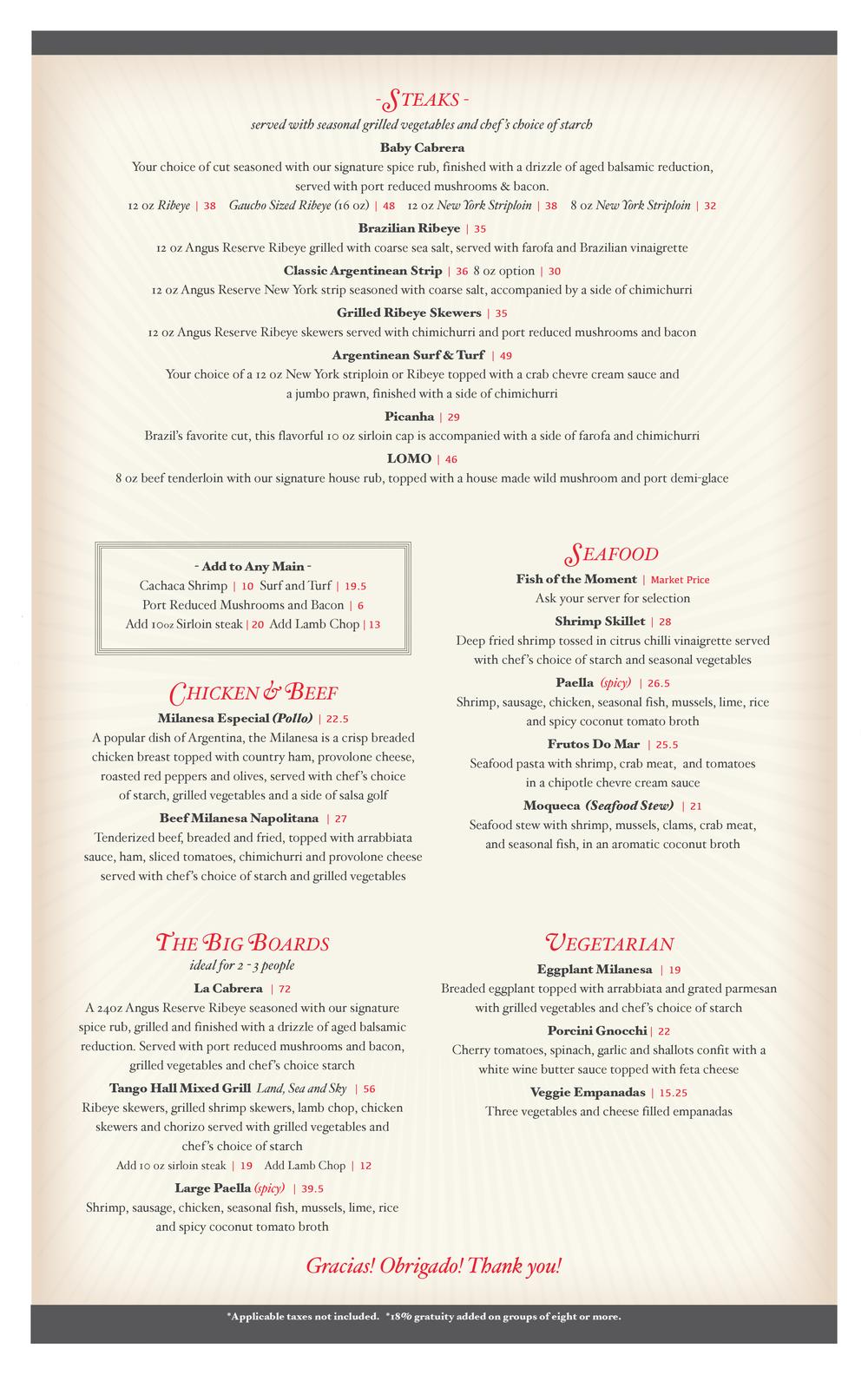 Hermanos Food Menu Page 2