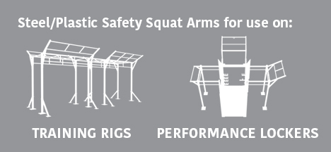 Steel/Plastic Safety Squat Arms for use on: Training Rigs & Performance Lockers