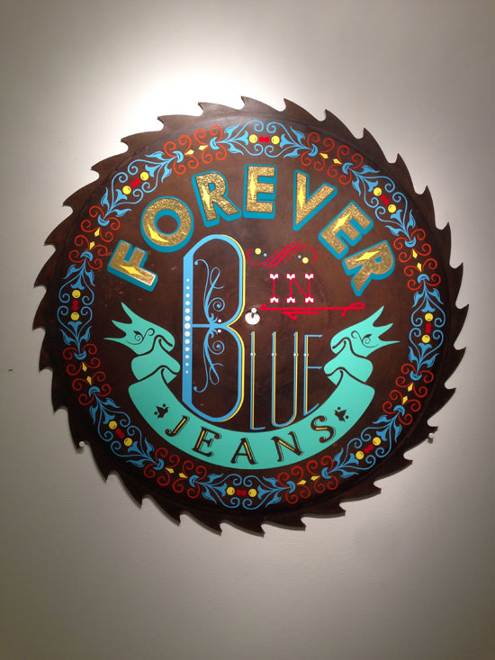 """Forever In Blue Jeans"" - 40in Mill Saw Blade and vinyl"