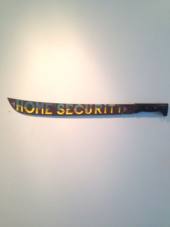 """Home Security"" - Machete with vinyl"