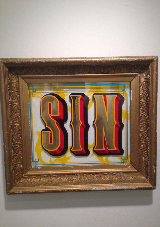 """SIN"" - Gold gilded frame with double paned glass and vinyl"