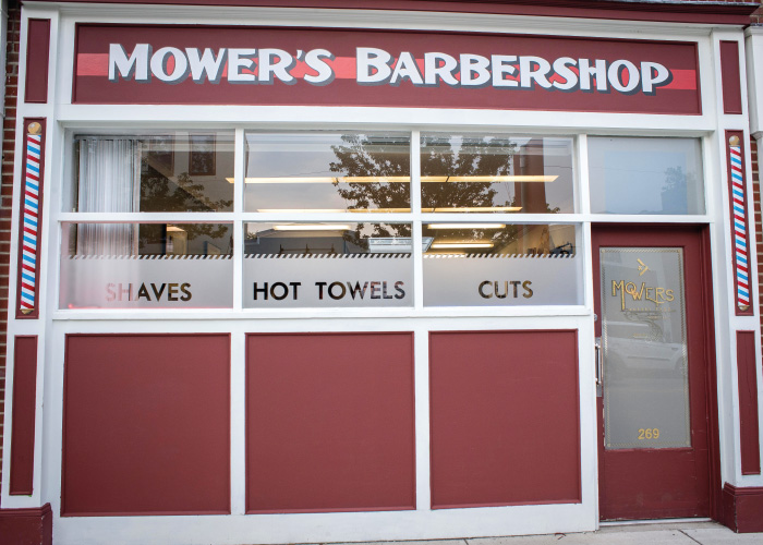Mowers Barber Shop Exterior vinyl
