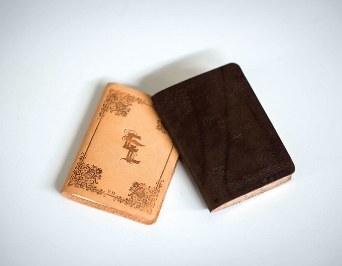 "Steez x Capography ""Exemplar Libri"" handmade custom leather sketch books."