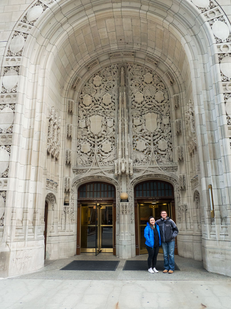 Brady + Kelsi outside of the Tribune Tower