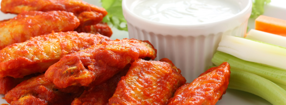 Classic chicken hot wings loaded with saturated fat, trans fat and cholesterol