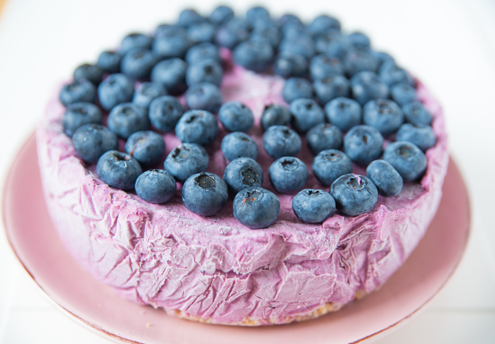 Blueberry Lemon Ice Cream Cake topped with fresh blueberries!