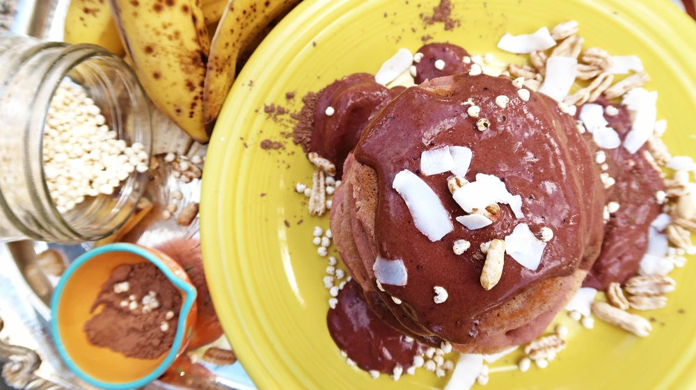 vegan banana beet pancakes top
