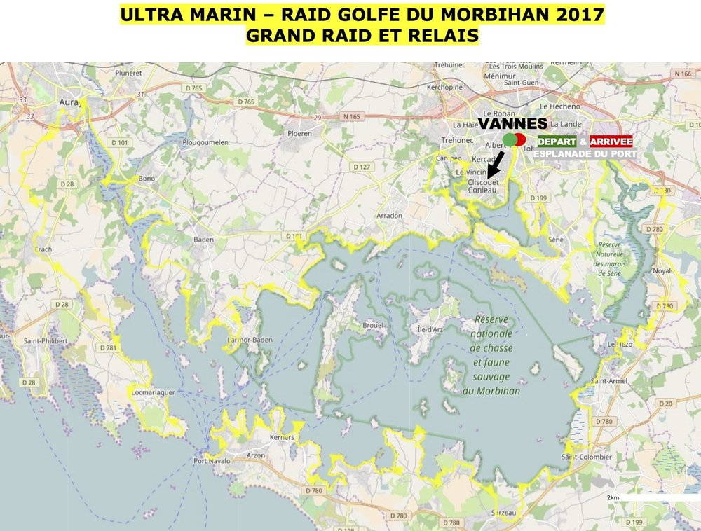 This is the course map, at the bottom left you can see the opening of the golf, where the boat crossing takes place. The race starts and ends in Vannes, and runs through my home town of Auray (upper left corner).
