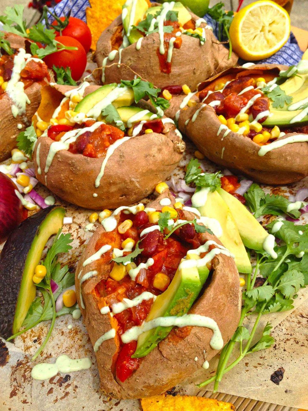 baked loaded mexican Sweet Potatoes yams vegan .jpg