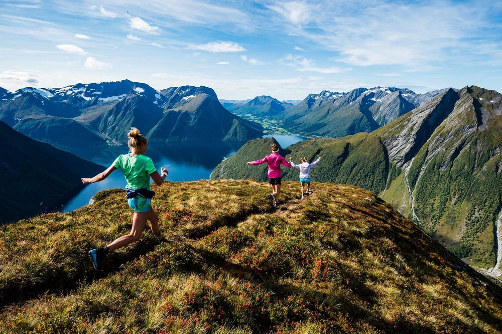Ida, Myself and Emelie running down a ridge in Norway!  Photo: (c) MattiasFredriksson