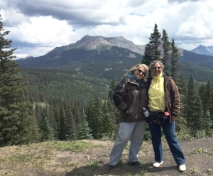 Cherie and Ann on a mountain somewhere in southwestern Colorado!