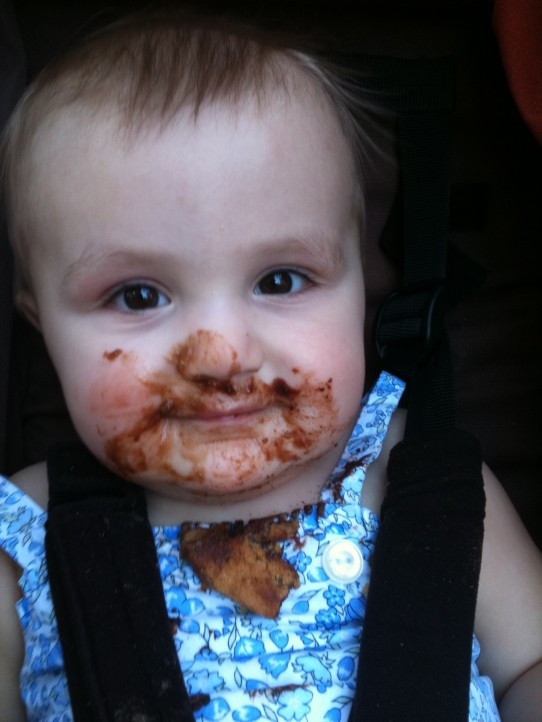 Eliza, after enjoying her first chocolate chip cookie