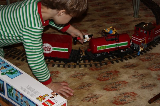 Findley and I gave the kids Findley's childhood train set. It was a huge hit with both the kids and the adults!