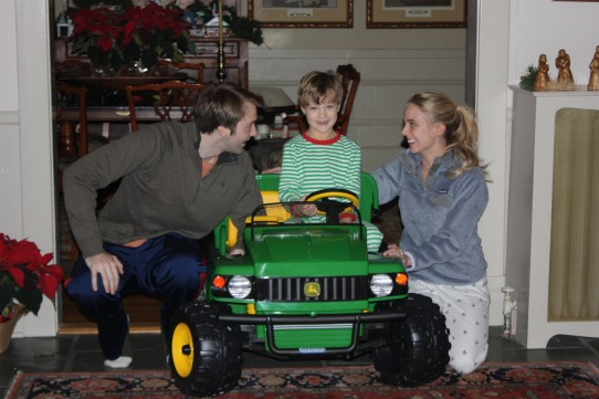 Santa brought Wills a 'mobile.' Christmas came early for Uncle John. Santa brought him Aunt Emily last July. Thanks for spending your first Christmas with us, Em!
