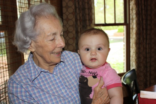 Not trying to confuse anyone, but this is my Memphis Nana. Sara Virginia holding Sara Elizabeth. This Nana is in great health. When my brother stopped by her house the other day, she was up on the roof sweeping off leaves.