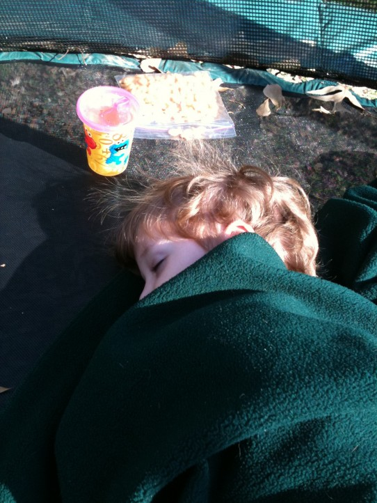 Thankful for Saturday's sunshine, I made sick Wills take a nap on the trampoline. He slept two hours.