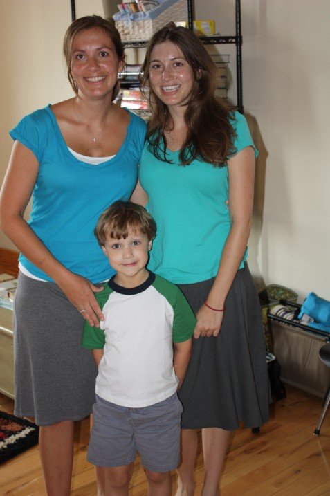 When we got to Ginny's apartment, we realized we were wearing the same outfit.