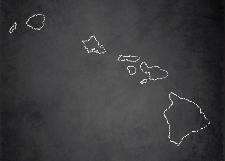Map of the beautiful Hawaiian Islands. Kauai is the northernmost one.