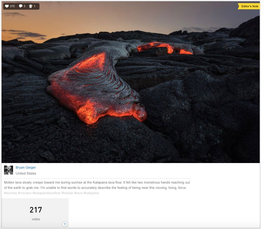 Lava Monster by Bryan Geiger, shown in Daily Dozen on November 9th 2016 at National Geographic website