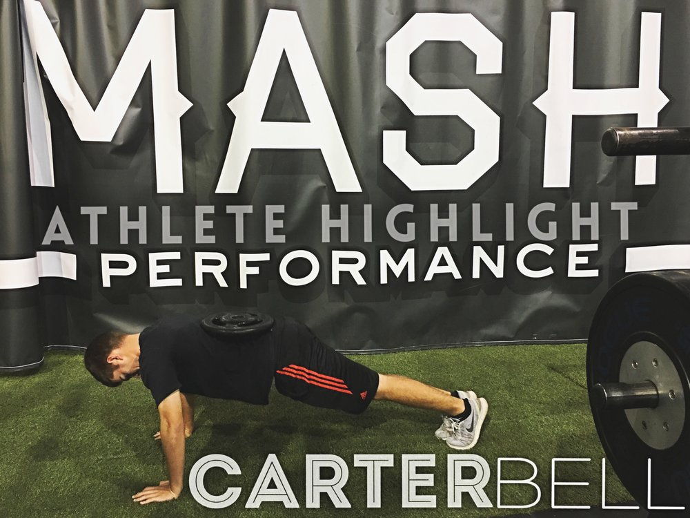 Carter during a set of his loaded pushups this week.