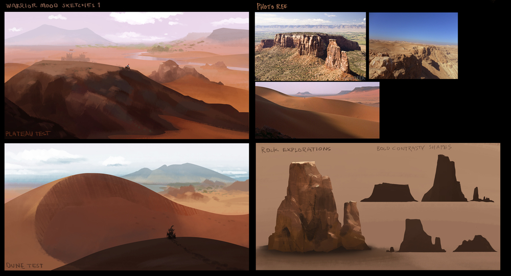 Early idea and mood sketches I did for the environment.