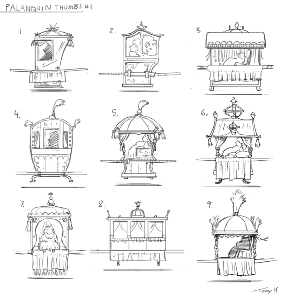 I designed and painted the Palanquin that the princess is sitting in. Here are some early idea sketches.