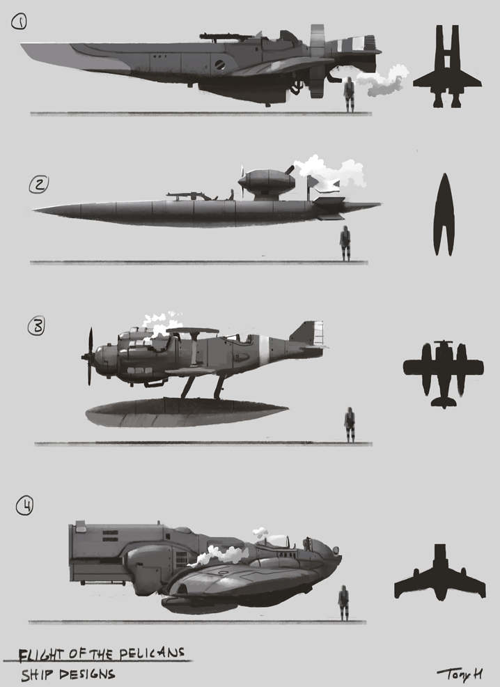 My first early sketches for the small attack / escort ships. I wanted them to be amphibian, to be able to land on water as I plan to have the story set around a few islands in the ocean. I want a steampunk retro-futuristic ww1 feel to the aircraft's. So, steam driven machines and guns are very primitive, basically just normal rifles / machine-guns mounted on the planes.