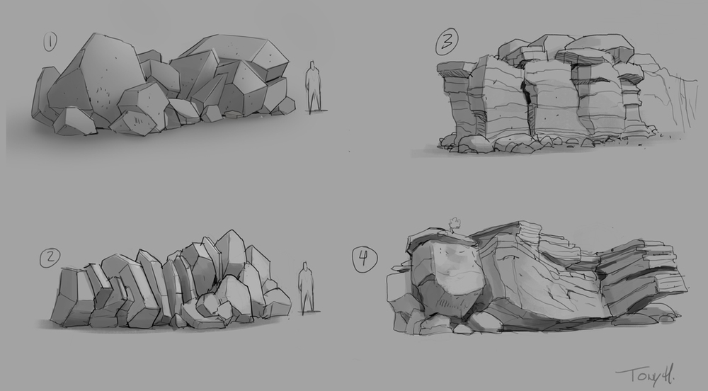 Exploring the blocky style of the rocks.