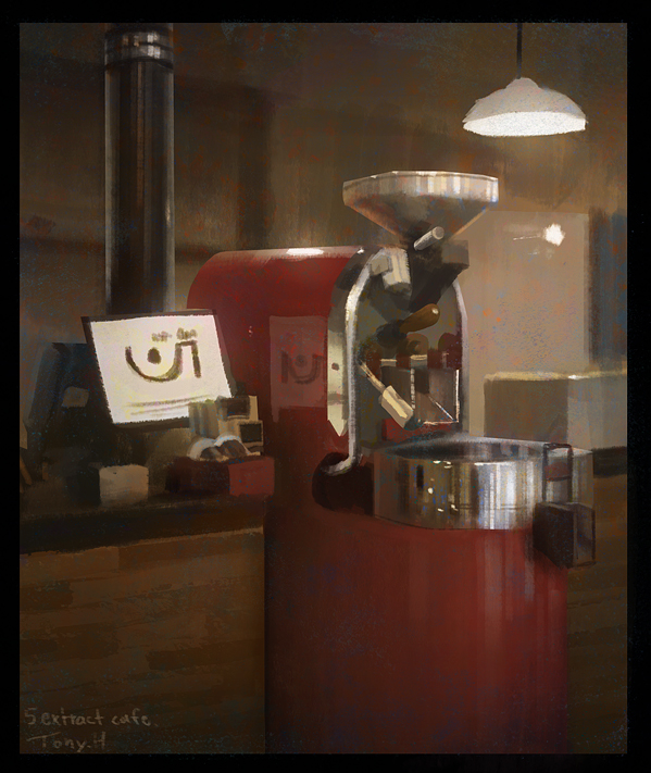 1 hour cafe painting of the coffee machine that made my coffee.