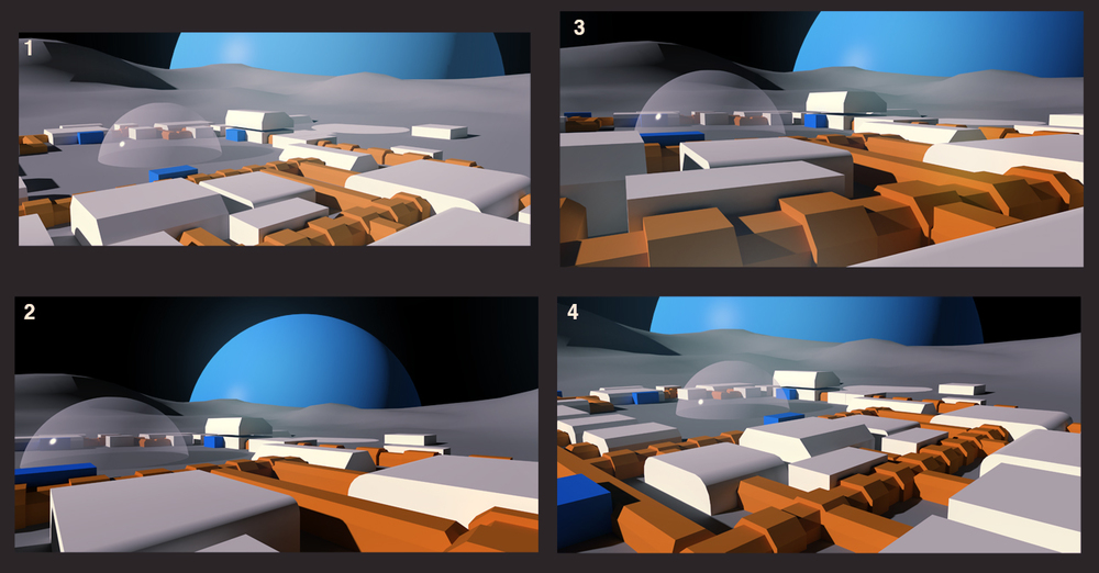 Moon base compositions blocked out in 3D.