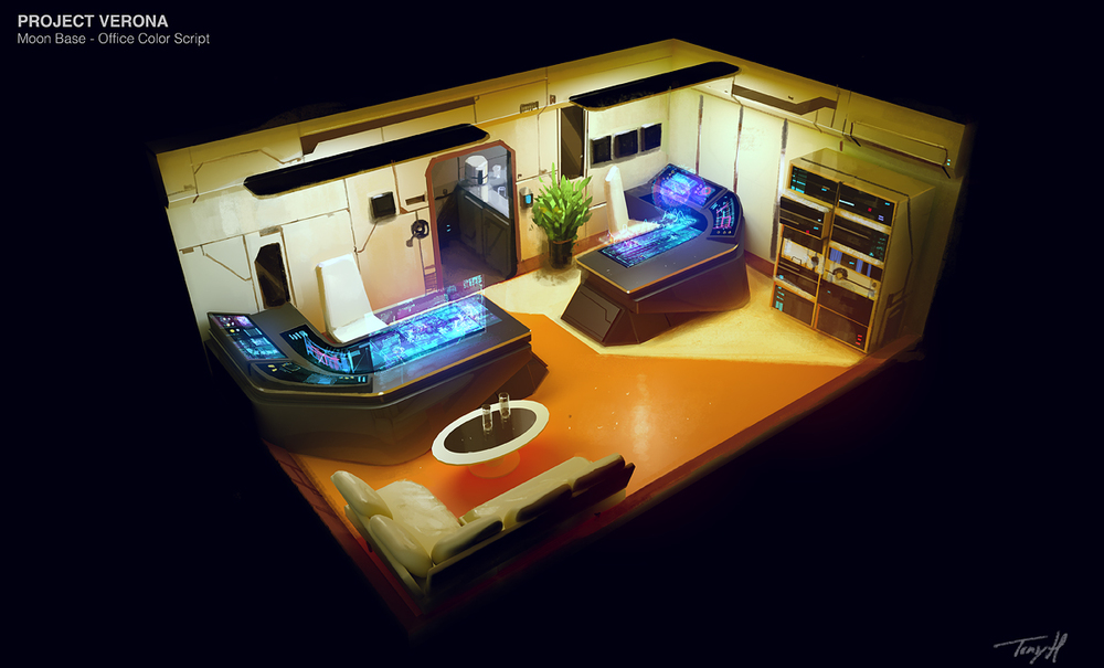 Moon base - Office. Modo & Photoshop.