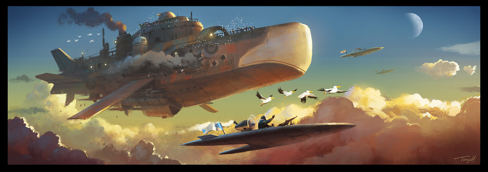 Personal project, flight of the pelicans. A battered battleship returning safely home.