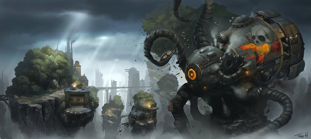 Sine mora Concept Art, Boss design. Photoshop.