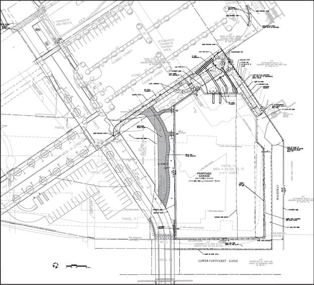 Site plan of garage. On the plan, Dutton Street is in upper-left corner, Canal Place is directly to the right, and Appleton Mills is below.