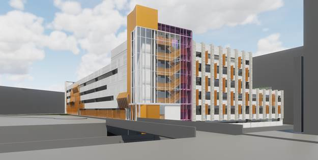 Rendering of garage from Appleton Courtyard.