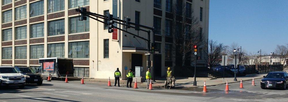 Utility work at Dutton and Broadway