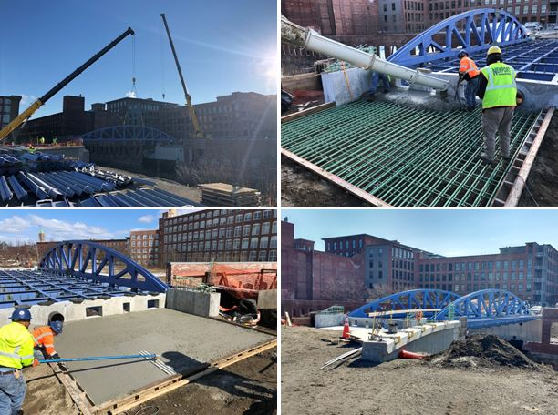 Forming and pouring the approach slab for the Signature Bridge. It curves toward Broadway Street.