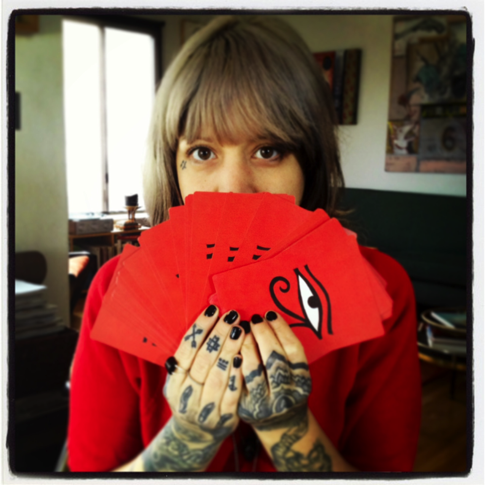 Marcella Kroll with her cards