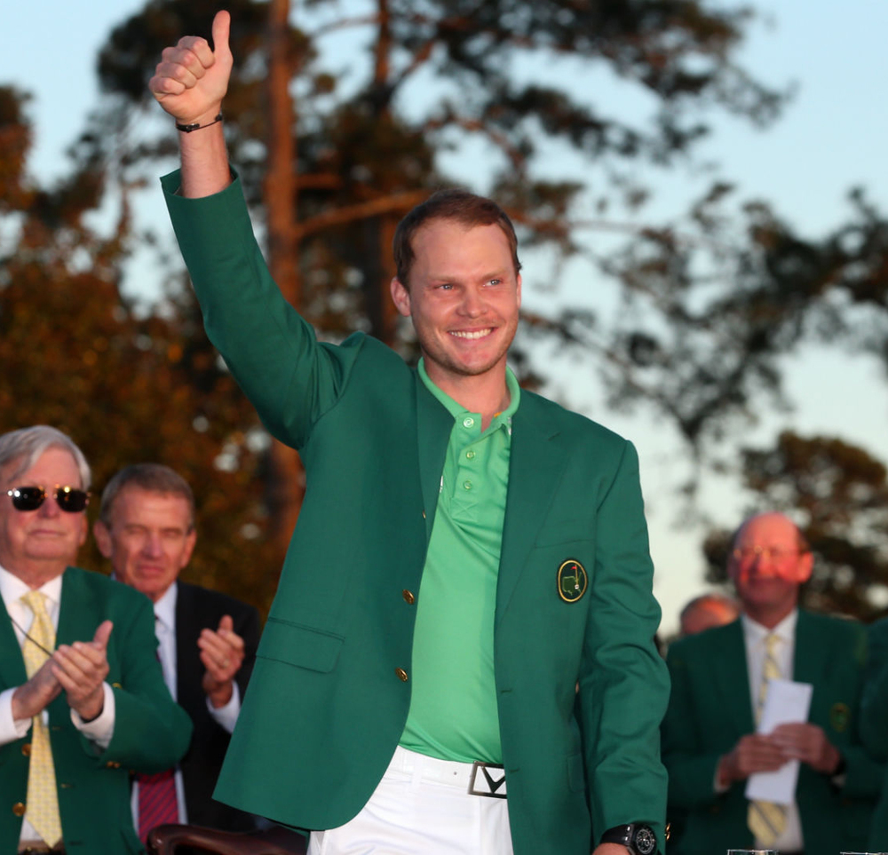 Victorious Danny Willett wearing his green jacket at the winners presentation.