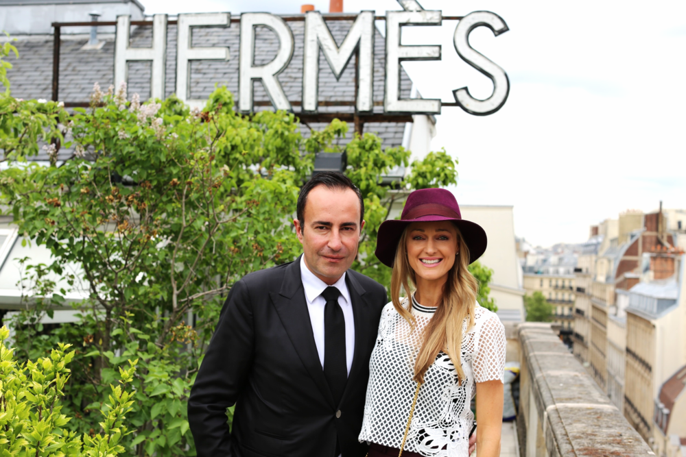 On the Hermes rooftop garden with Michael Coste.