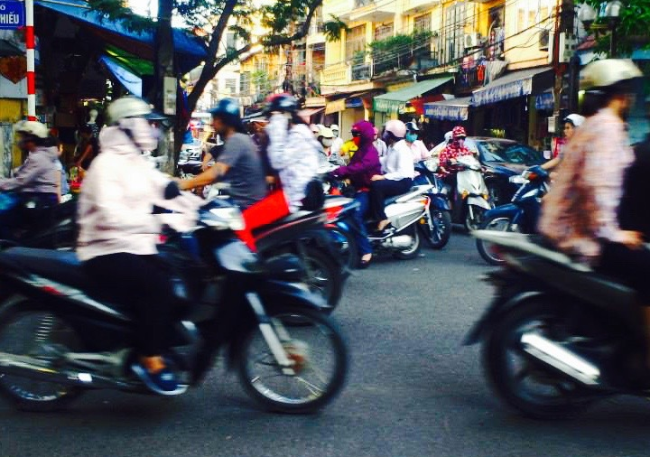 Traffic on the streets of Hanoi.