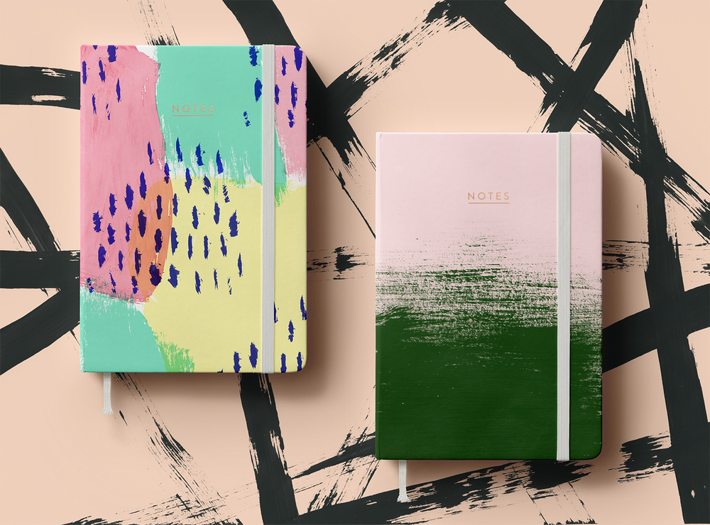 Notebooks / Hand painted patterns litho printed and perfect bound with copper foil blocked type / 2016