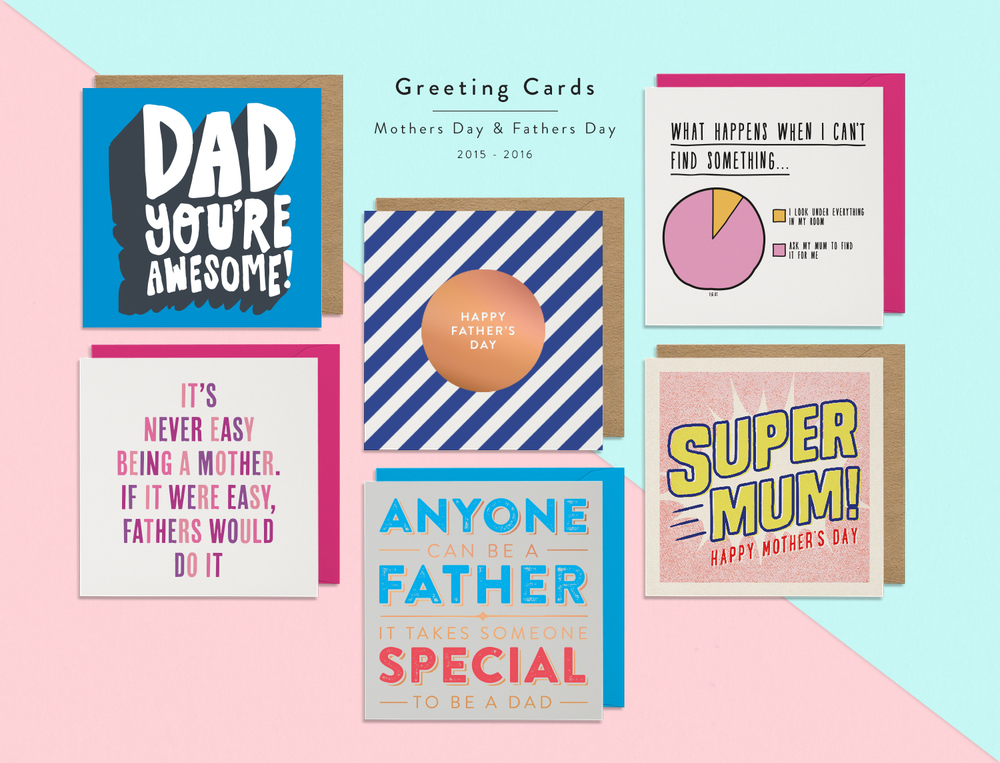 Greeting Cards / Small Selection of some of my most successful typography based designs for Mothers Day and Fathers Day